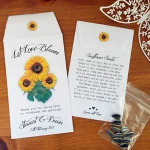 Personalised sunflower seed wedding favours