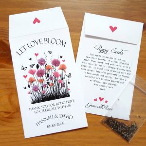 personalised poppy seed wedding favours