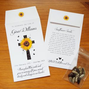Personalised sunflower seed favours