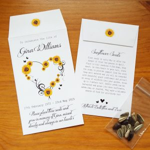 sunflower seed funeral favours