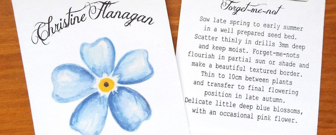 personalised forget me not seed packet gift favours