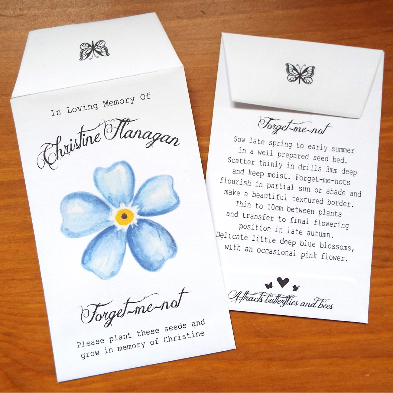 10 Forget Me Not Seed Packet Favours By Wedding In A: Flower - Love Bespoke