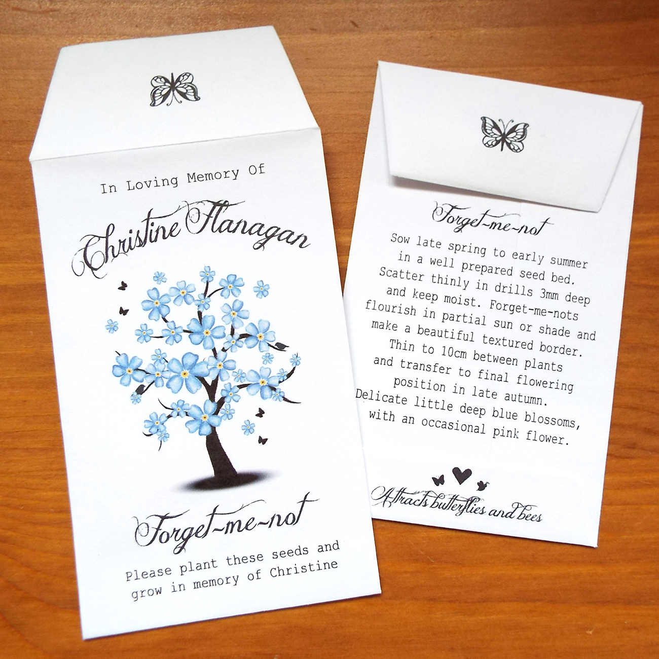 10 Forget Me Not Seed Packet Favours By Wedding In A: Tree - Love Bespoke