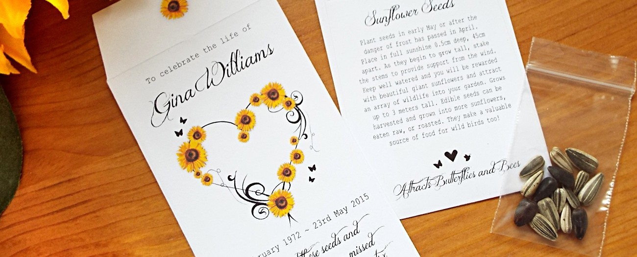 personalised sunflower seed packets