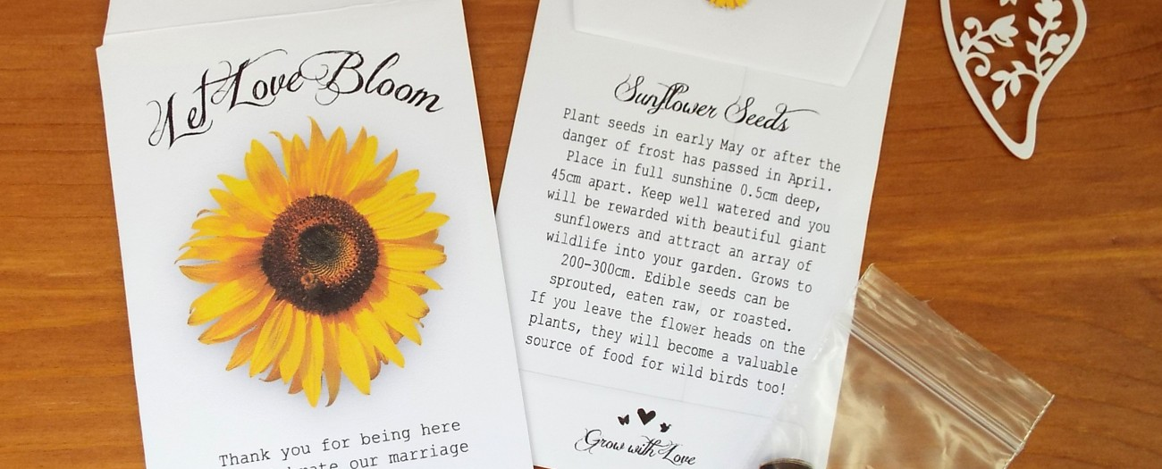 sunflower seed wedding favours