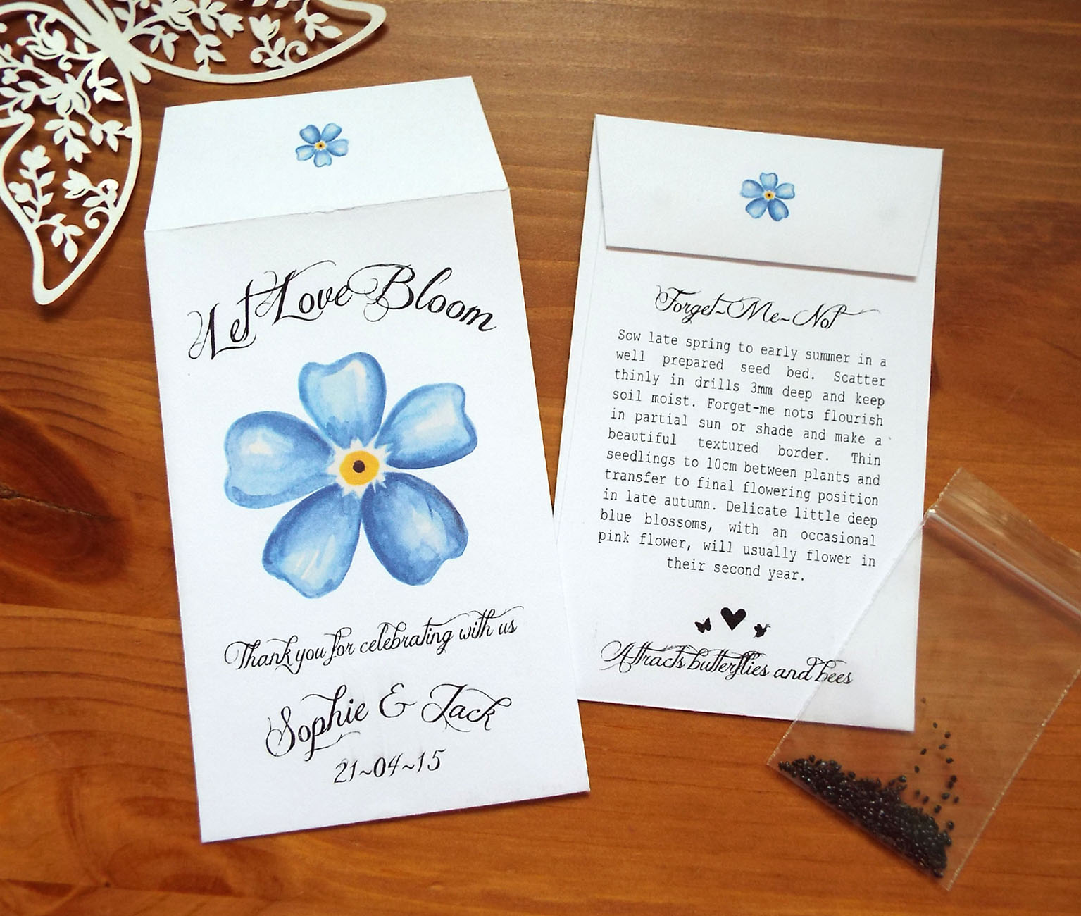 10 Forget Me Not Seed Packet Favours By Wedding In A: Wedding Favours - Personalised Seeds